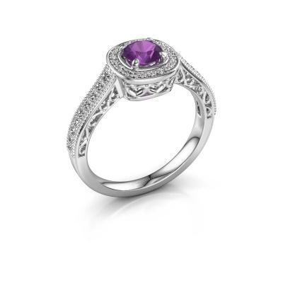 Verlovings ring Candi 585 witgoud amethist 5 mm