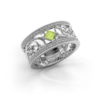 Ring Danae 585 witgoud peridoot 3 mm