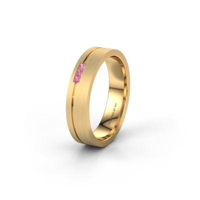 Trouwring WH0158L14X 375 goud roze saffier ±4x1.4 mm