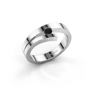 Ring Rosario 925 zilver zwarte diamant 0.12 crt