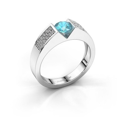 Verlovingsring Lizzy 3 585 witgoud blauw topaas 5 mm