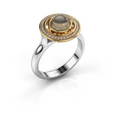 Ring Salima 585 witgoud rookkwarts 6 mm