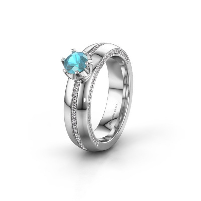 Huwelijksring WH0416L25E 585 witgoud blauw topaas ±5x2.6 mm