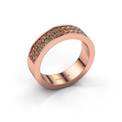 Stackable ring Catharina 6 375 rose gold brown diamond 0.56 crt