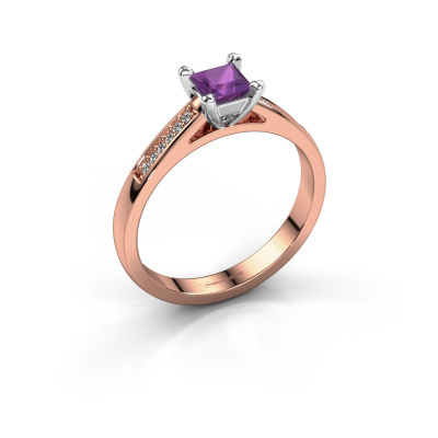 Engagement ring Nynke SQR 585 rose gold amethyst 4 mm