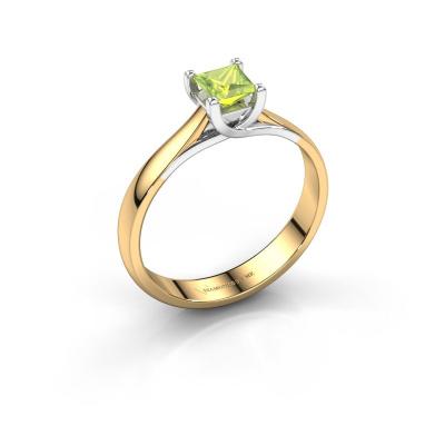 Verlobungsring Mia Square 585 Gold Peridot 4 mm