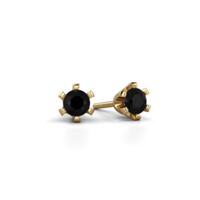 Oorstekers Shana 585 goud zwarte diamant 0.30 crt