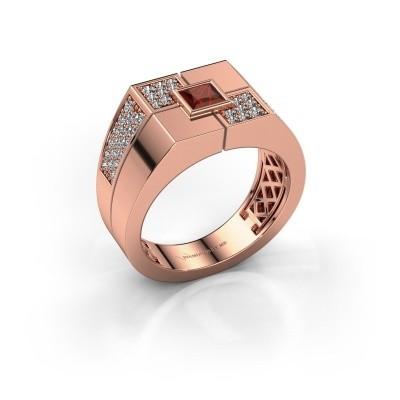 Men's ring Rogier 375 rose gold garnet 4 mm