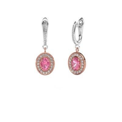 Oorhangers Layne 2 585 rosé goud roze saffier 7x5 mm