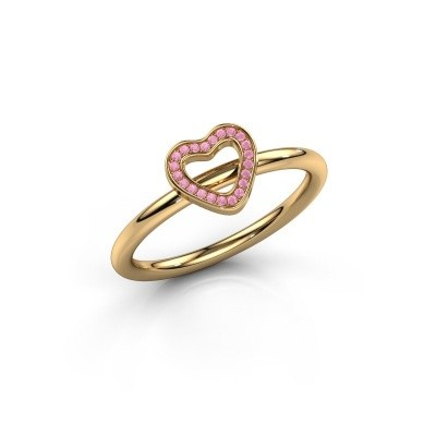 Ring Shape heart small 585 goud roze saffier 0.8 mm