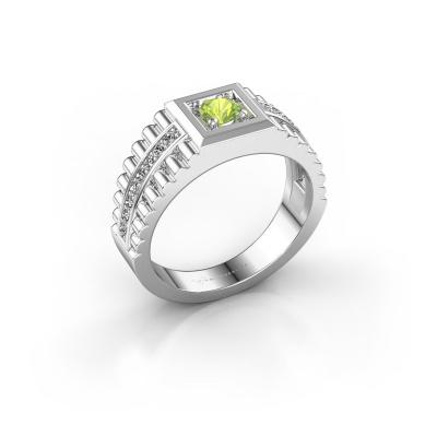 Men's ring Maikel 585 white gold peridot 4.2 mm