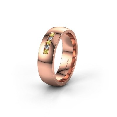 Wedding ring WH0107L26BP 375 rose gold yellow sapphire ±0.24x0.08 in
