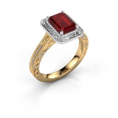 Verlovings ring Alice EME 585 goud robijn 7x5 mm