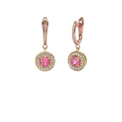 Oorhangers Ninette 2 585 goud roze saffier 5 mm