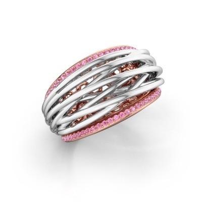 Foto van Ring Kirstin 585 rosé goud roze saffier 1 mm