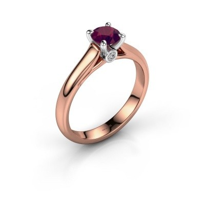 Verlovingsring Valorie 1 585 rosé goud rhodoliet 5 mm