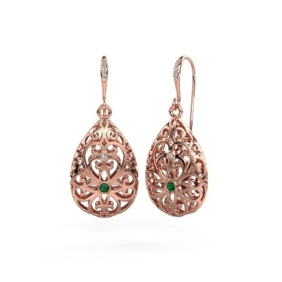 Picture of Drop earrings Idalia 2 375 rose gold emerald 2 mm