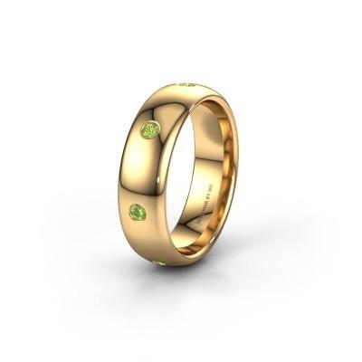 Wedding ring WH0105L36BP 375 gold peridot ±0.24x0.08 in