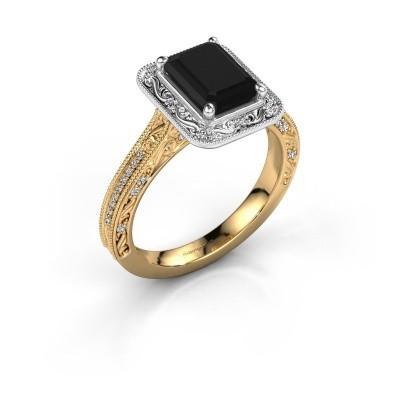 Verlovings ring Alice EME 585 goud zwarte diamant 1.485 crt