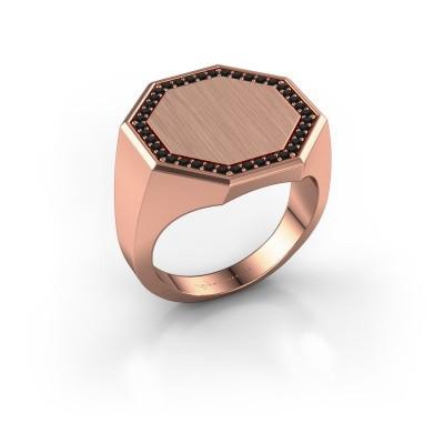 Heren ring Floris Octa 4 375 rosé goud zwarte diamant 0.36 crt