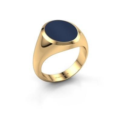 Foto van Zegelring Herman 4 585 goud donker blauw lagensteen 15x12 mm