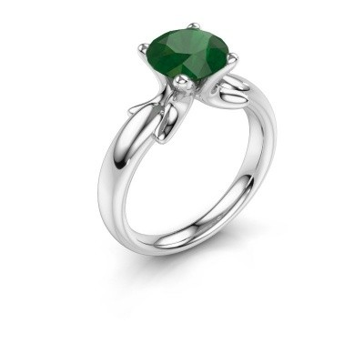 Ring Jodie 925 silver emerald 8 mm