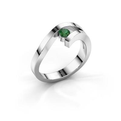 Foto van Ring Evalyn 1 585 witgoud smaragd 3.7 mm