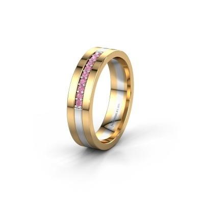 Trouwring WH0413L15AP 585 witgoud roze saffier ±5x1.7 mm