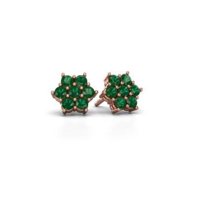 Picture of Stud earrings Bonita 375 rose gold emerald 2.4 mm