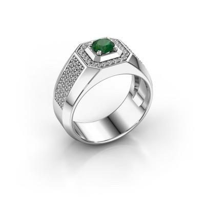 Heren ring Pavan 375 witgoud smaragd 5 mm
