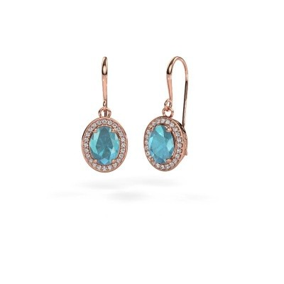 Picture of Drop earrings Latesha 375 rose gold blue topaz 8x6 mm