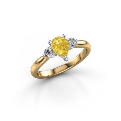 Foto van Verlovingsring Lieselot PER 585 goud gele saffier 7x5 mm