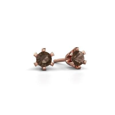 Oorstekers Shana 375 rosé goud rookkwarts 4 mm