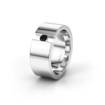 Trouwring WH0146L18BP 925 zilver zwarte diamant ±8x2 mm