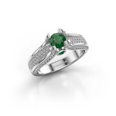 Foto van Verlovingsring Jeanne 2 950 platina smaragd 5 mm