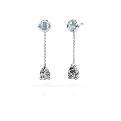 Picture of Drop earrings Laurie 3 585 white gold zirconia 7x5 mm