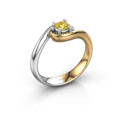 Ring Linn 585 goud gele saffier 4 mm