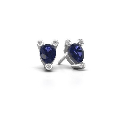 Picture of Stud earrings Cornelia Pear 585 white gold sapphire 7x5 mm
