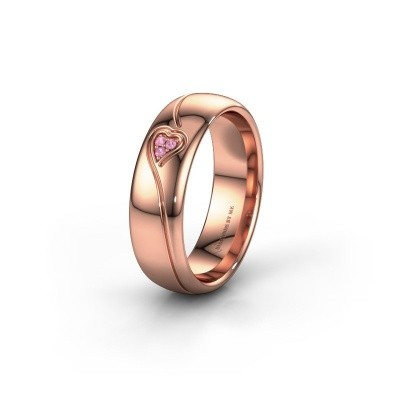 Wedding ring WH0168L36AP 375 rose gold pink sapphire ±6x1.7 mm