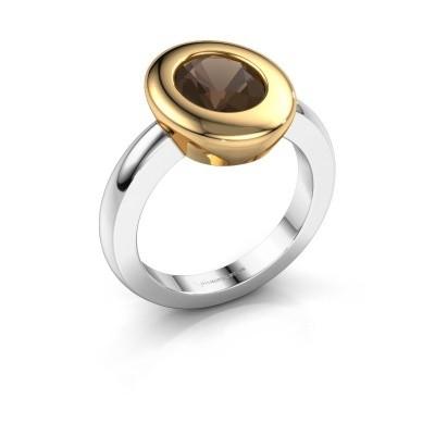 Ring Selene 1 585 witgoud rookkwarts 9x7 mm