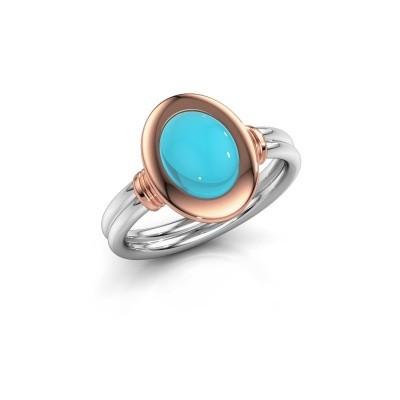 Foto van Ring Brittni 585 witgoud blauw topaas 9x7 mm