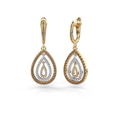 Foto van Oorhangers Marietta 2 585 goud bruine diamant 0.852 crt
