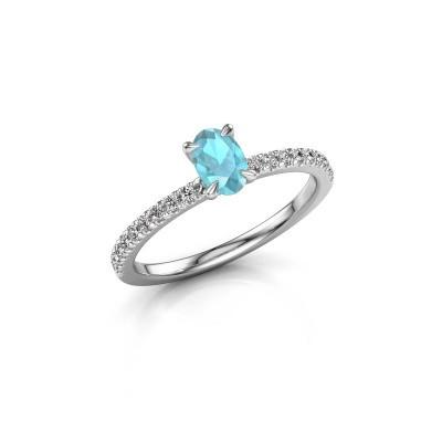 Foto van Verlovingsring Crystal OVL 2 585 witgoud blauw topaas 6x4 mm