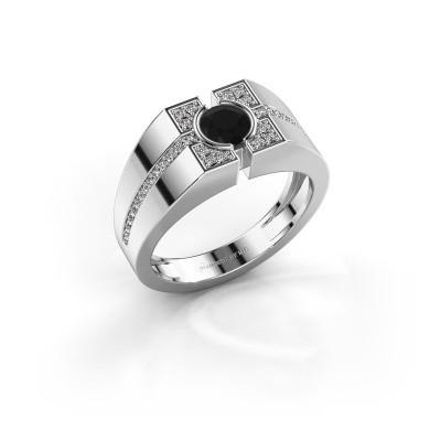 Foto van Herenring Thijmen 925 zilver zwarte diamant 0.855 crt