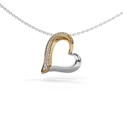 Halsketting Heart 1 585 goud zirkonia 1.2 mm