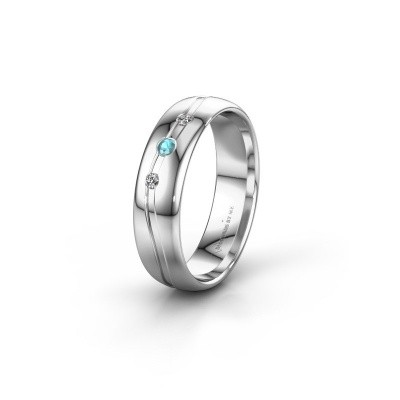 Picture of Friendship ring WH0907L35X 585 white gold blue topaz ±5x1.4 mm