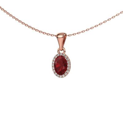 Hanger Seline ovl 585 rosé goud robijn 7x5 mm