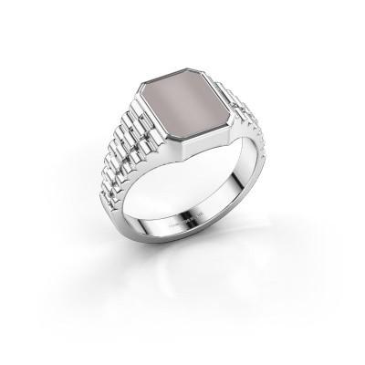 Foto van Rolex stijl ring Brent 1 585 witgoud rode lagensteen 10x8 mm