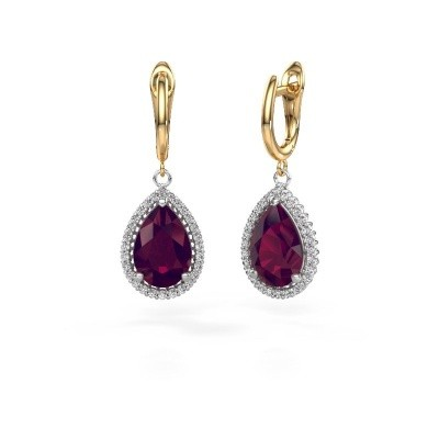 Drop earrings Tilly per 3 585 white gold rhodolite 12x8 mm