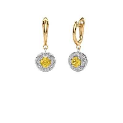 Drop earrings Ninette 1 585 white gold yellow sapphire 5 mm